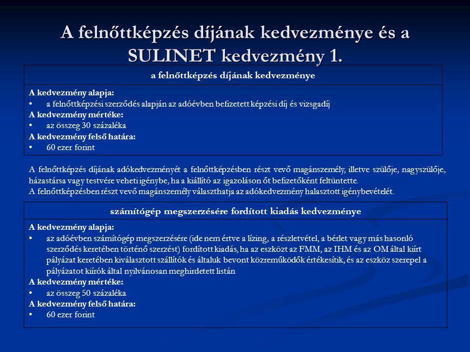 A felnőttképzés díjának kedvezménye és a SULINET kedvezmény 1. a felnőttképzés díjának kedvezménye A kedvezmény alapja: a felnőttképzési szerződés ala