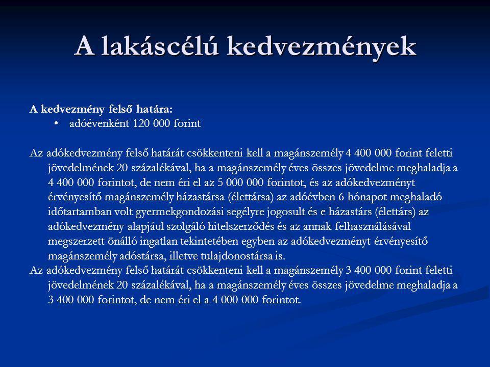 A lakáscélú kedvezmények A kedvezmény felső határa: adóévenként 120 000 forint Az adókedvezmény felső határát csökkenteni kell a magánszemély 4 400 00