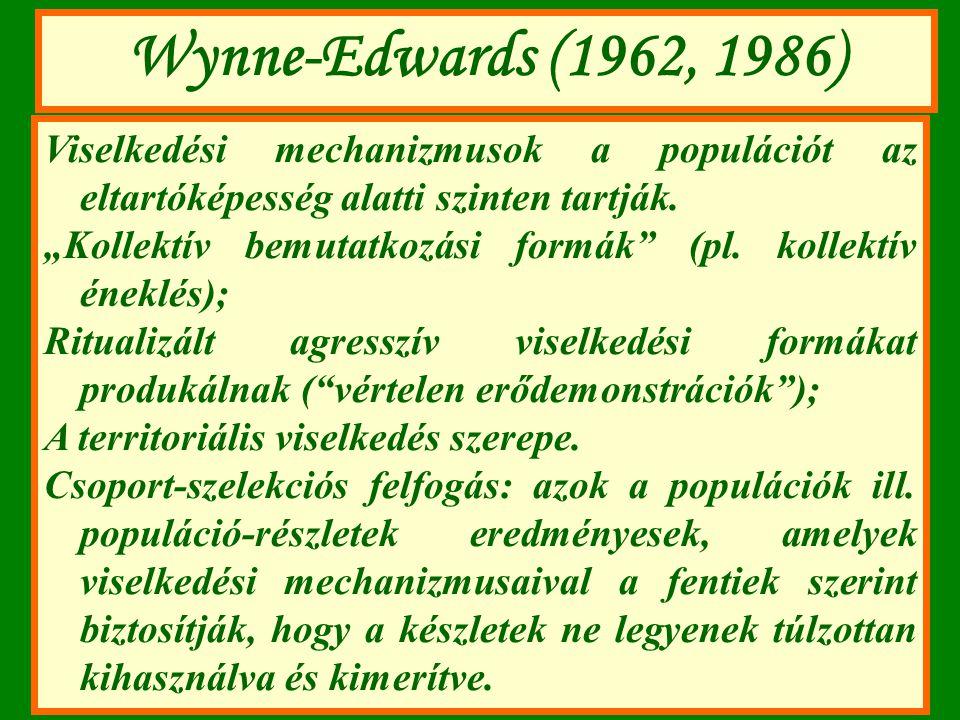 """Wynne-Edwards (1962, 1986) Viselkedési mechanizmusok a populációt az eltartóképesség alatti szinten tartják. """"Kollektív bemutatkozási formák"""" (pl. kol"""