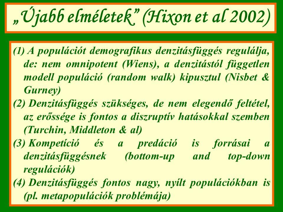 """""""Újabb elméletek"""" (Hixon et al 2002) (1) A populációt demografikus denzitásfüggés regulálja, de: nem omnipotent (Wiens), a denzitástól független model"""