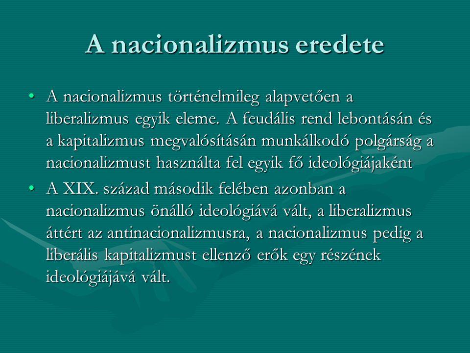 A nacionalizmus eredete A nacionalizmus történelmileg alapvetően a liberalizmus egyik eleme. A feudális rend lebontásán és a kapitalizmus megvalósítás