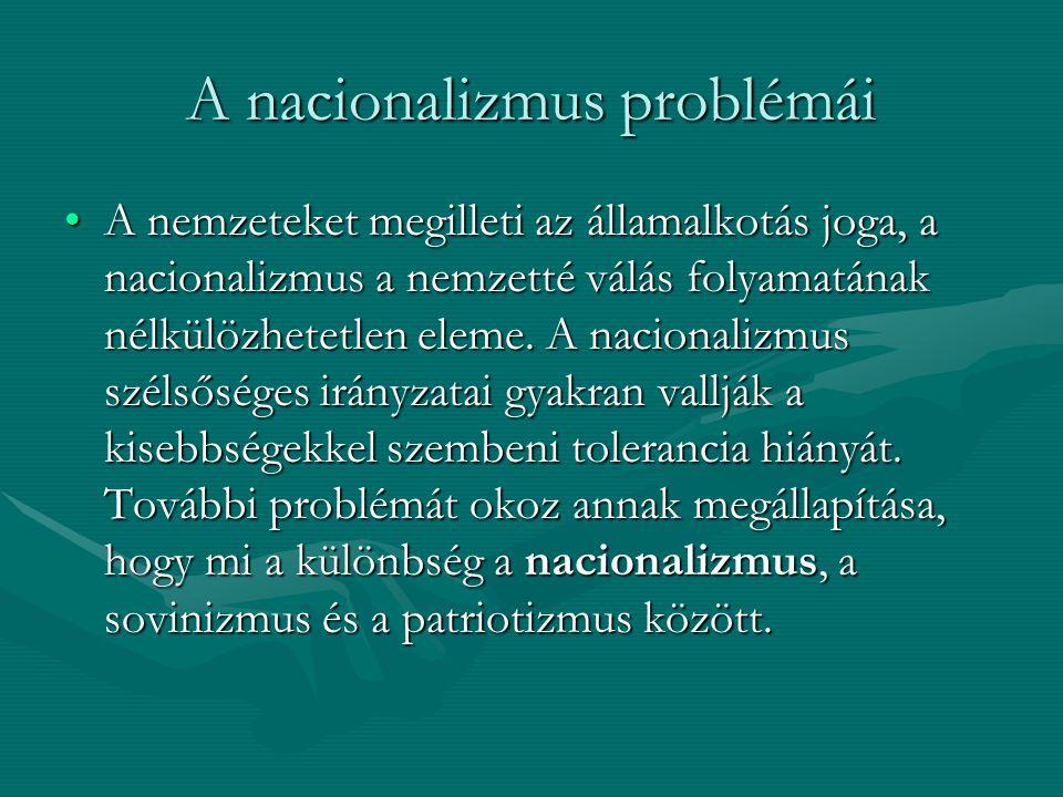 A nacionalizmus problémái A nemzeteket megilleti az államalkotás joga, a nacionalizmus a nemzetté válás folyamatának nélkülözhetetlen eleme. A naciona