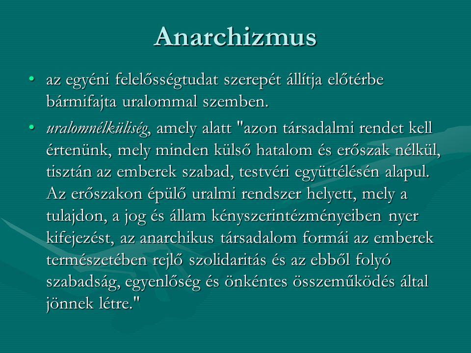 Anarchizmus az egyéni felelősségtudat szerepét állítja előtérbe bármifajta uralommal szemben.az egyéni felelősségtudat szerepét állítja előtérbe bármi