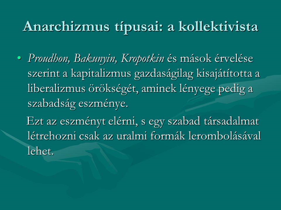 Anarchizmus típusai: a kollektivista Proudhon, Bakunyin, Kropotkin és mások érvelése szerint a kapitalizmus gazdaságilag kisajátította a liberalizmus