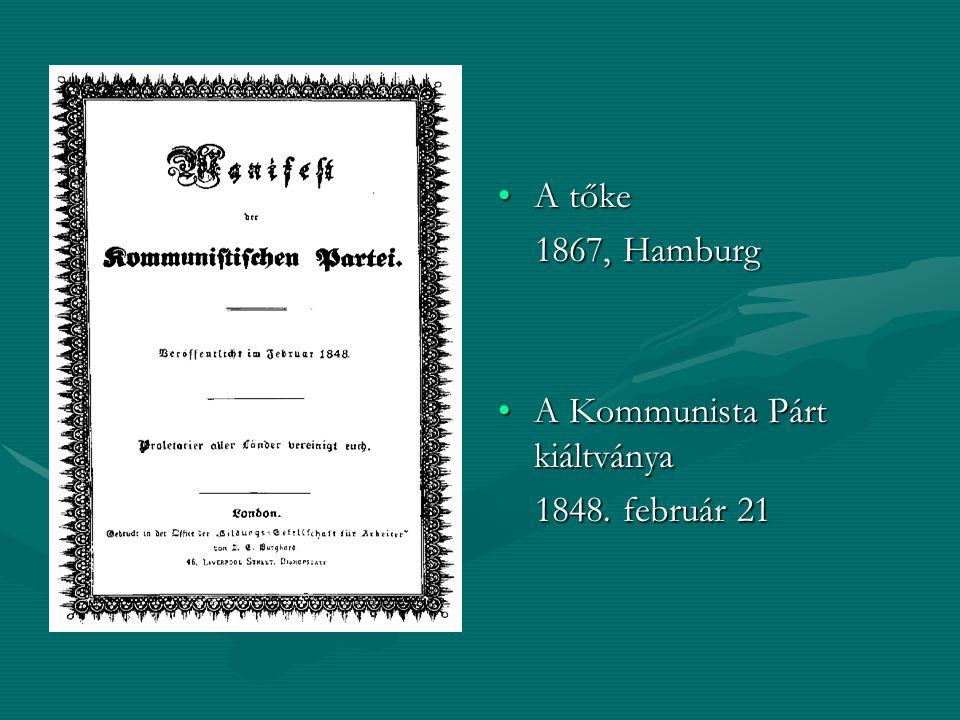 A tőke 1867, Hamburg A Kommunista Párt kiáltványa 1848. február 21