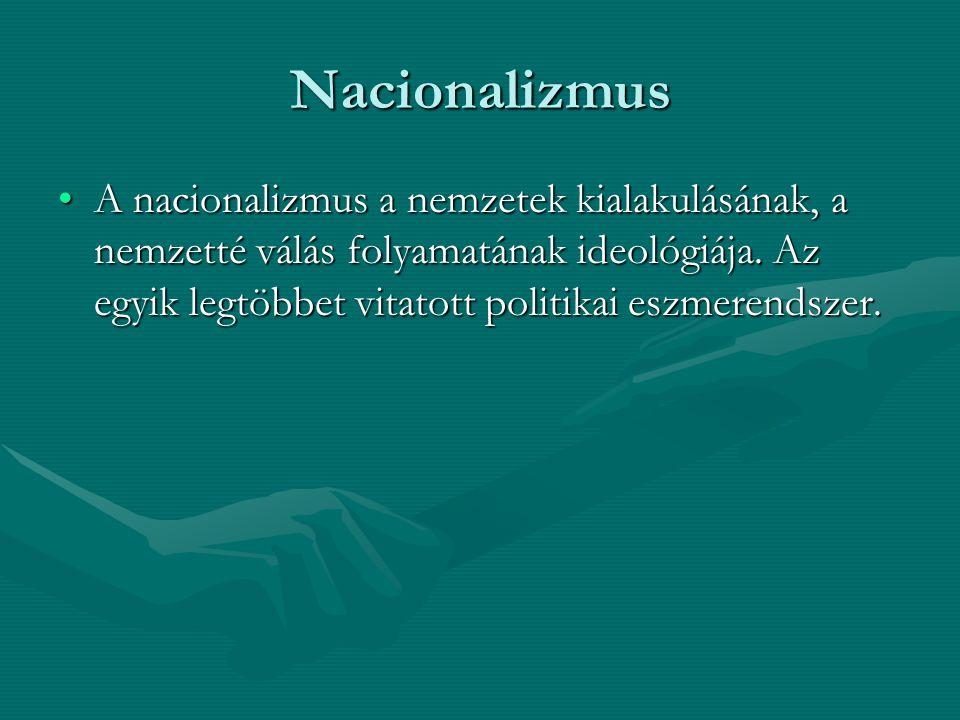 Nacionalizmus A nacionalizmus a nemzetek kialakulásának, a nemzetté válás folyamatának ideológiája. Az egyik legtöbbet vitatott politikai eszmerendsze