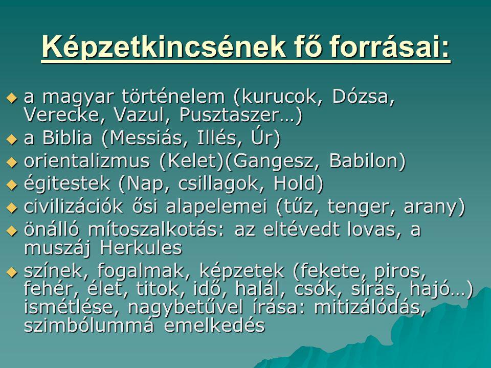 Képzetkincsének fő forrásai:  a magyar történelem (kurucok, Dózsa, Verecke, Vazul, Pusztaszer…)  a Biblia (Messiás, Illés, Úr)  orientalizmus (Kele