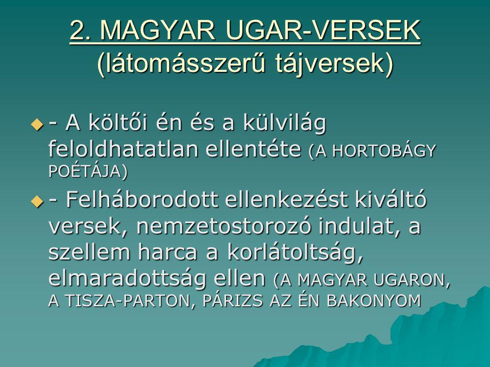 2. MAGYAR UGAR-VERSEK (látomásszerű tájversek)  - A költői én és a külvilág feloldhatatlan ellentéte (A HORTOBÁGY POÉTÁJA)  - Felháborodott ellenkez