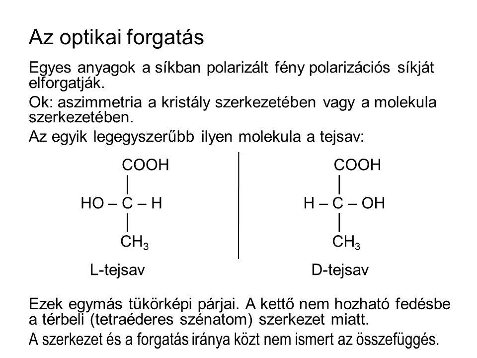 Az optikai forgatás Egyes anyagok a síkban polarizált fény polarizációs síkját elforgatják. Ok: aszimmetria a kristály szerkezetében vagy a molekula s