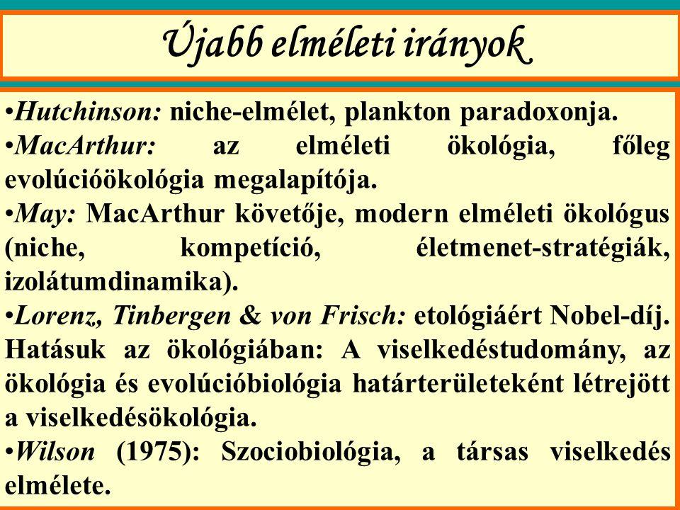 Újabb elméleti irányok Hutchinson: niche-elmélet, plankton paradoxonja.
