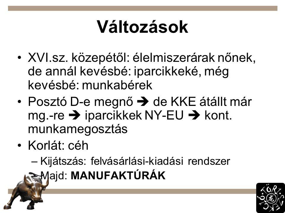 Változások XVI.sz. közepétől: élelmiszerárak nőnek, de annál kevésbé: iparcikkeké, még kevésbé: munkabérek Posztó D-e megnő  de KKE átállt már mg.-re