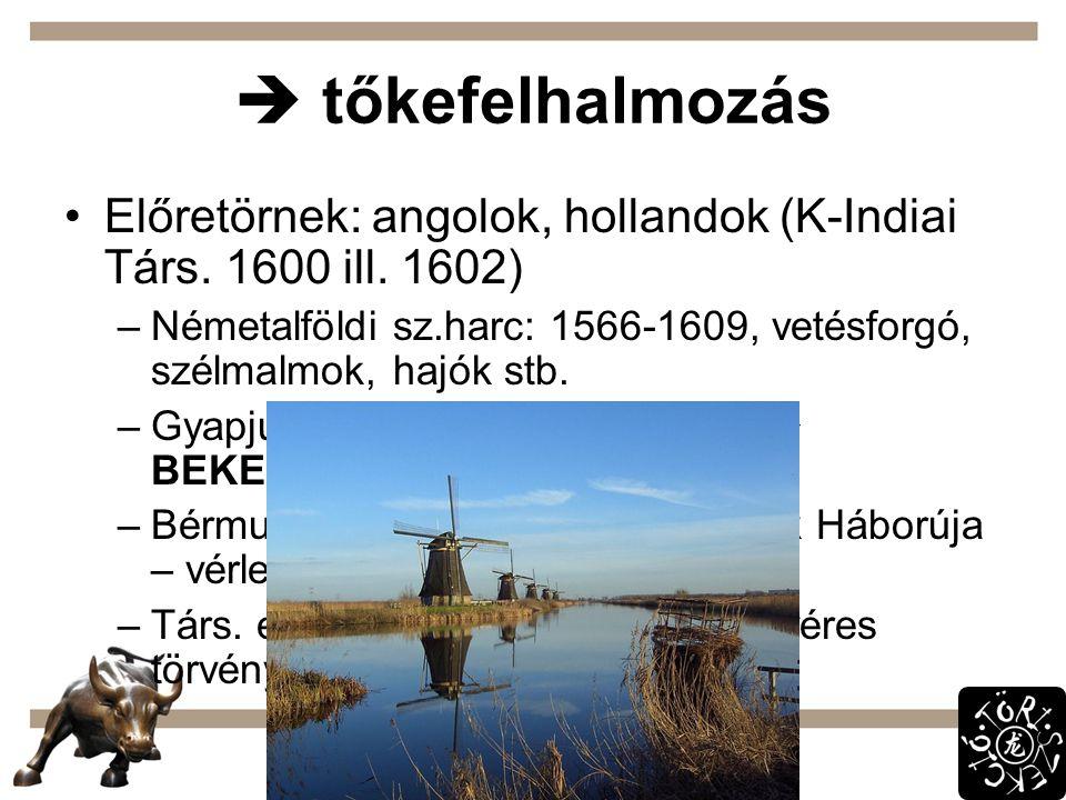  tőkefelhalmozás Előretörnek: angolok, hollandok (K-Indiai Társ. 1600 ill. 1602) –Németalföldi sz.harc: 1566-1609, vetésforgó, szélmalmok, hajók stb.