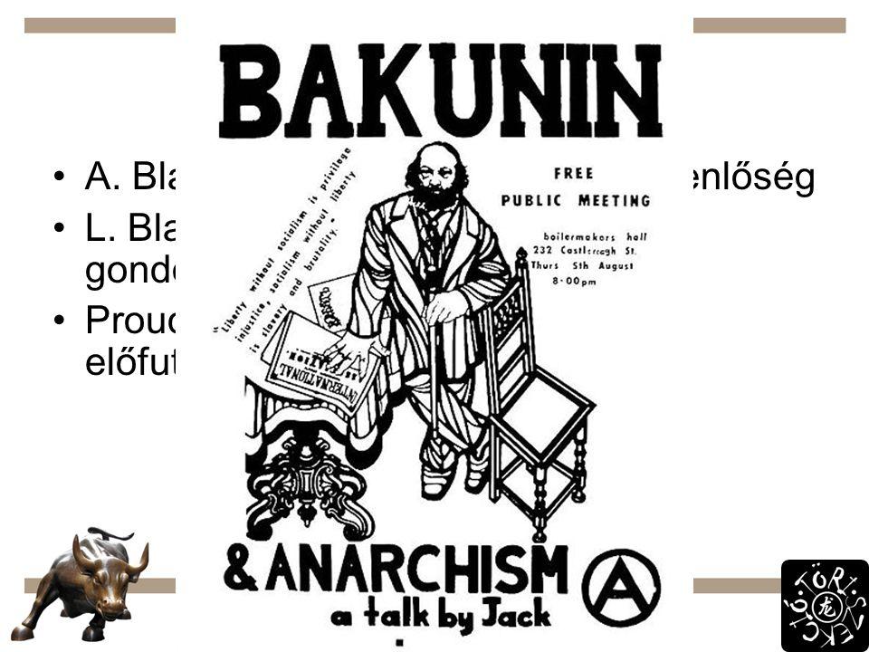 Más nézetek A. Blanqui: politikai és vagyoni egyenlőség L. Blanc: munkához való jog, állami gondoskodás a munkanélküliekről Proudhon, Bakunyin: anarch