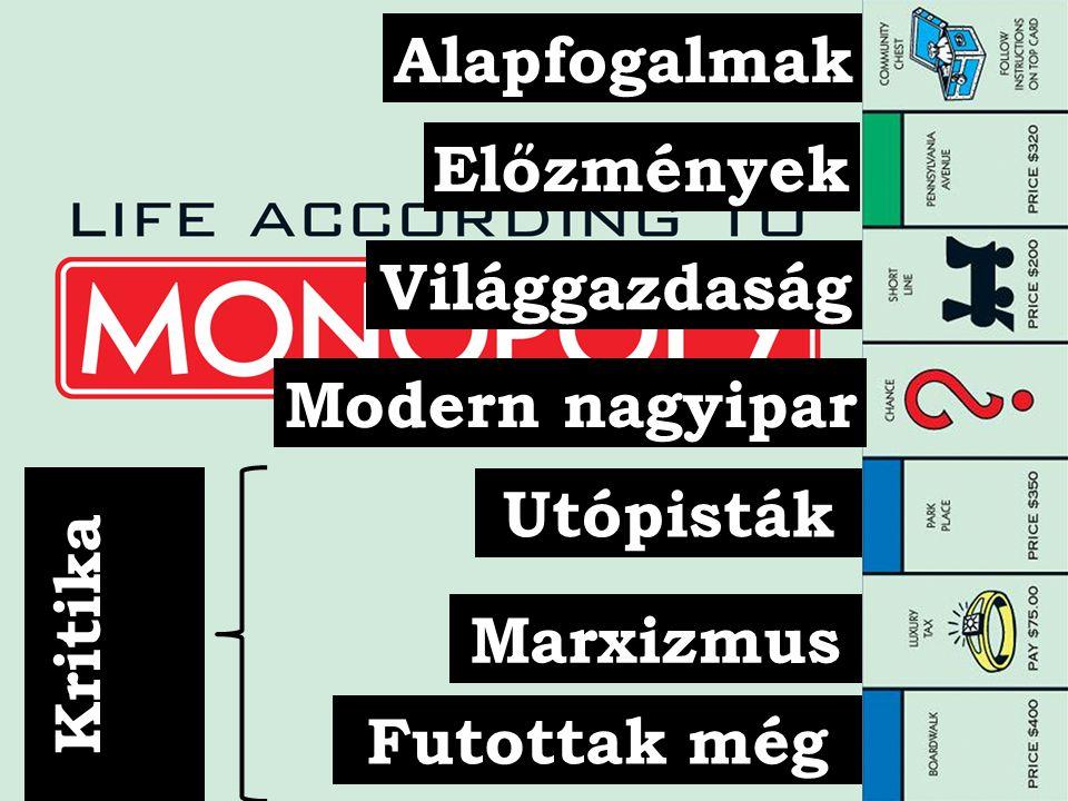 Alapfogalmak Előzmények Világgazdaság Modern nagyipar Utópisták Marxizmus Futottak még Kritika