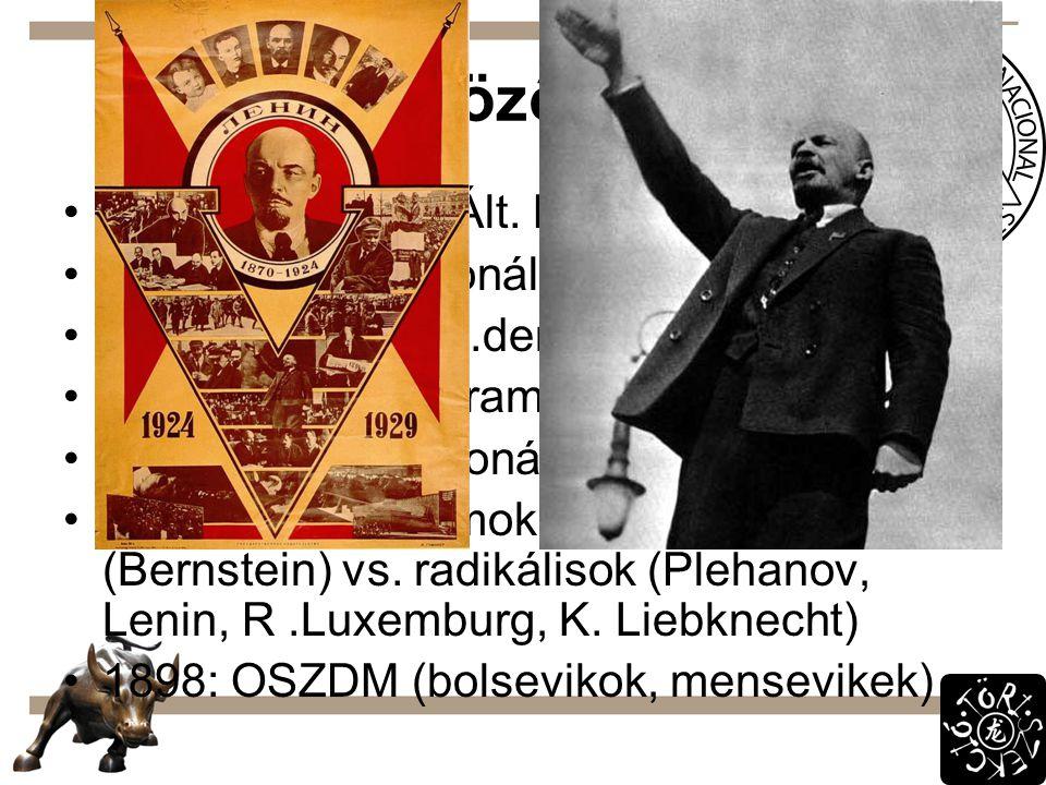 Különböző irányok 1863: Lassalle – Ált. Német Munkásegylet 1864: I. Internacionálé 1869: német szoc.dem. párt 1875: gothai program  Marxnak kevés 188