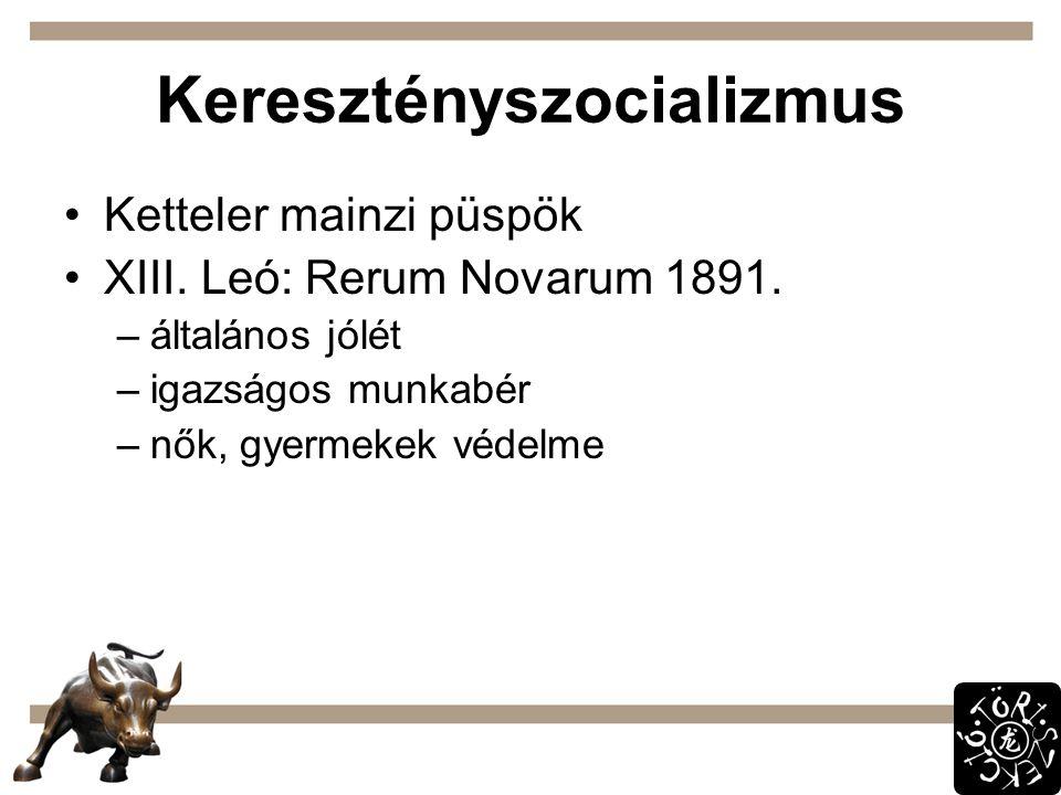 Keresztényszocializmus Ketteler mainzi püspök XIII. Leó: Rerum Novarum 1891. –általános jólét –igazságos munkabér –nők, gyermekek védelme