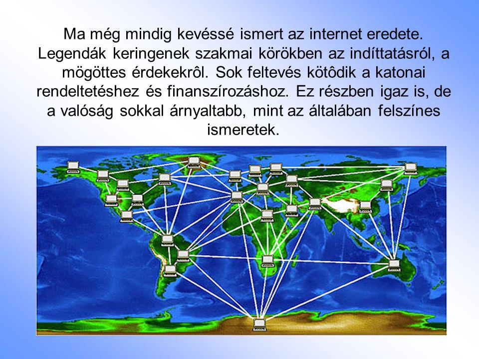 Ma még mindig kevéssé ismert az internet eredete. Legendák keringenek szakmai körökben az indíttatásról, a mögöttes érdekekrôl. Sok feltevés kötôdik a