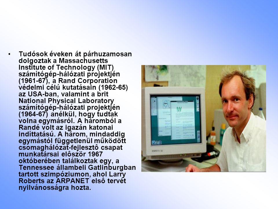 Tudósok éveken át párhuzamosan dolgoztak a Massachusetts Institute of Technology (MIT) számítógép-hálózati projektjén (1961-67), a Rand Corporation védelmi célú kutatásain (1962-65) az USA-ban, valamint a brit National Physical Laboratory számítógép-hálózati projektjén (1964-67) anélkül, hogy tudtak volna egymásról.