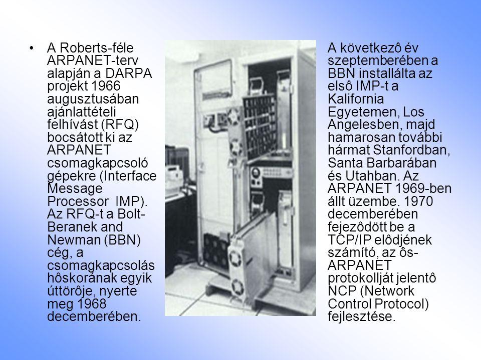 A Roberts-féle ARPANET-terv alapján a DARPA projekt 1966 augusztusában ajánlattételi felhívást (RFQ) bocsátott ki az ARPANET csomagkapcsoló gépekre (Interface Message Processor  IMP).