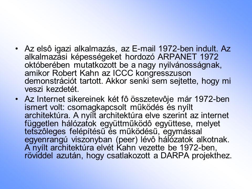 Az elsô igazi alkalmazás, az E-mail 1972-ben indult. Az alkalmazási képességeket hordozó ARPANET 1972 októberében mutatkozott be a nagy nyilvánosságna