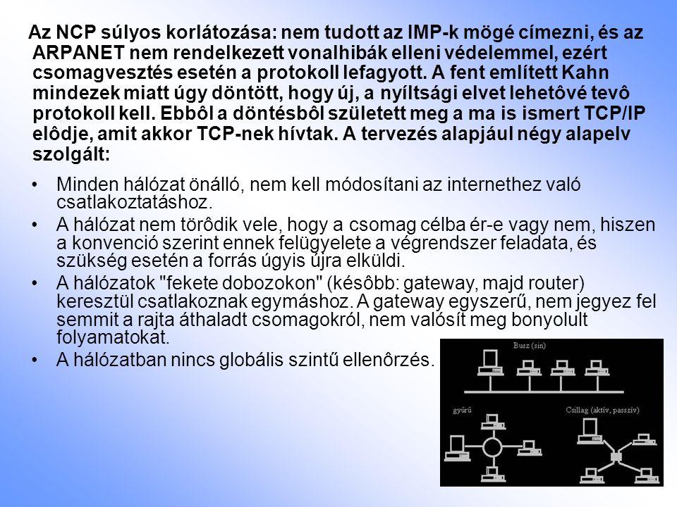 Az NCP súlyos korlátozása: nem tudott az IMP-k mögé címezni, és az ARPANET nem rendelkezett vonalhibák elleni védelemmel, ezért csomagvesztés esetén a