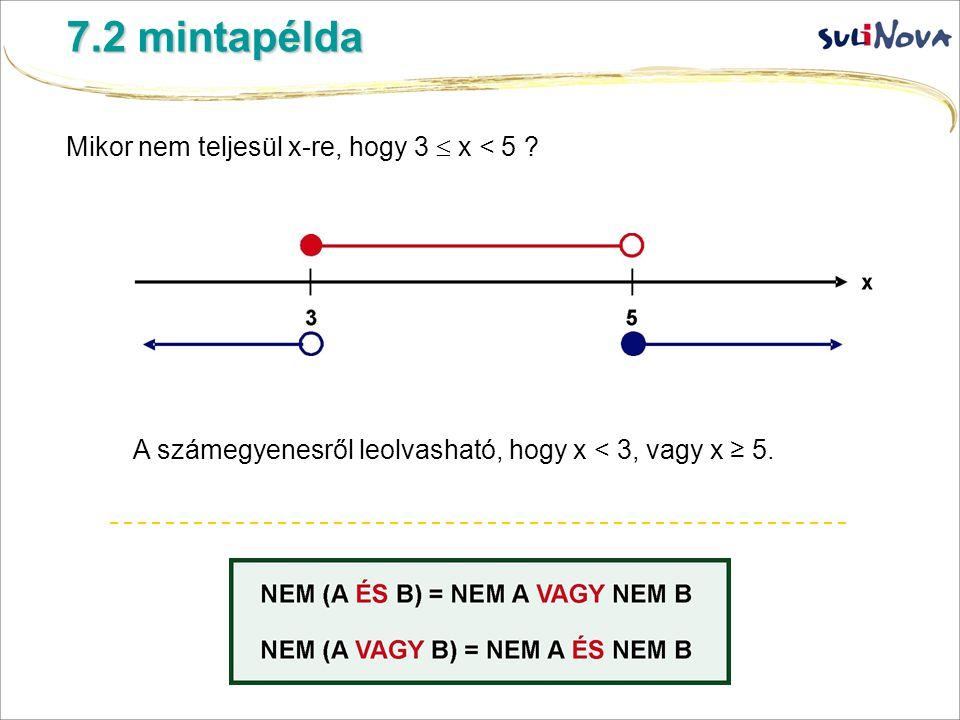 Mikor nem teljesül x-re, hogy 3  x < 5 ? 7.2 mintapélda A számegyenesről leolvasható, hogy x < 3, vagy x ≥ 5.