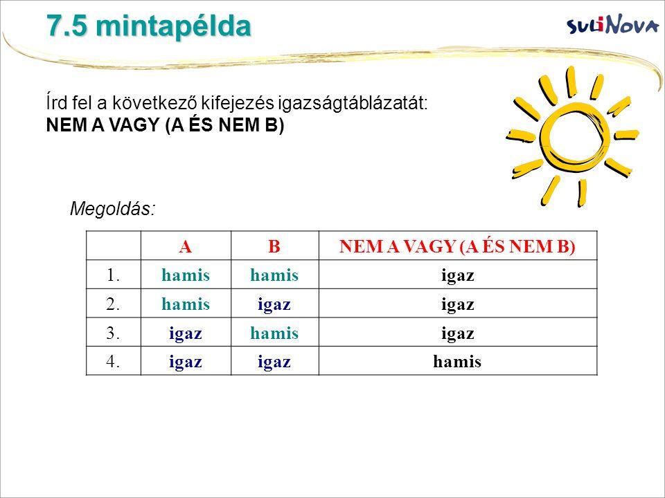 7.5 mintapélda Írd fel a következő kifejezés igazságtáblázatát: NEM A VAGY (A ÉS NEM B) Megoldás: ABNEM A VAGY (A ÉS NEM B) 1.hamis igaz 2.hamisigaz 3