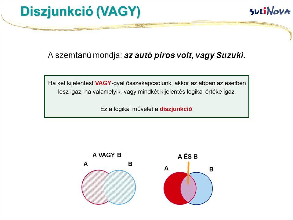 Diszjunkció (VAGY) A szemtanú mondja: az autó piros volt, vagy Suzuki.