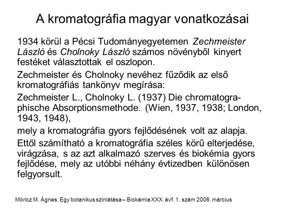 A kromatográfia magyar vonatkozásai 1934 körül a Pécsi Tudományegyetemen Zechmeister László és Cholnoky László számos növényből kinyert festéket válas