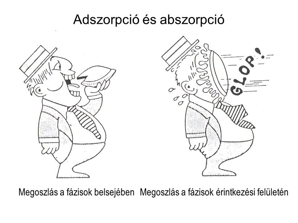 Adszorpció és abszorpció Megoszlás a fázisok belsejében Megoszlás a fázisok érintkezési felületén