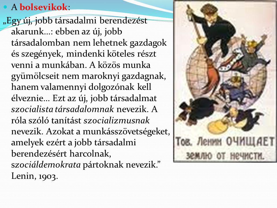 """A bolsevikok: """"Egy új, jobb társadalmi berendezést akarunk…: ebben az új, jobb társadalomban nem lehetnek gazdagok és szegények, mindenki köteles rész"""