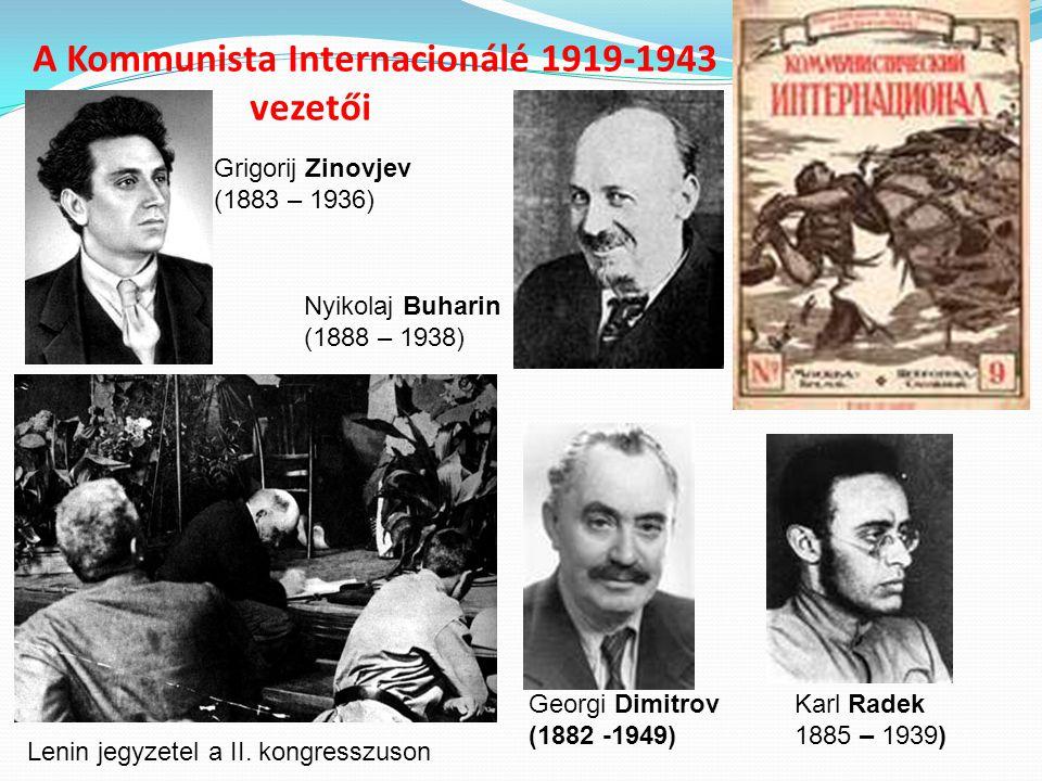 A Kommunista Internacionálé 1919-1943 vezetői Grigorij Zinovjev (1883 – 1936) Karl Radek 1885 – 1939) Nyikolaj Buharin (1888 – 1938) Georgi Dimitrov (