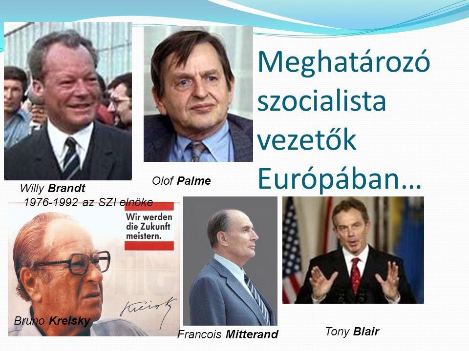 Meghatározó szocialista vezetők Európában… Willy Brandt 1976-1992 az SZI elnöke Olof Palme Francois Mitterand Tony Blair Bruno Kreisky