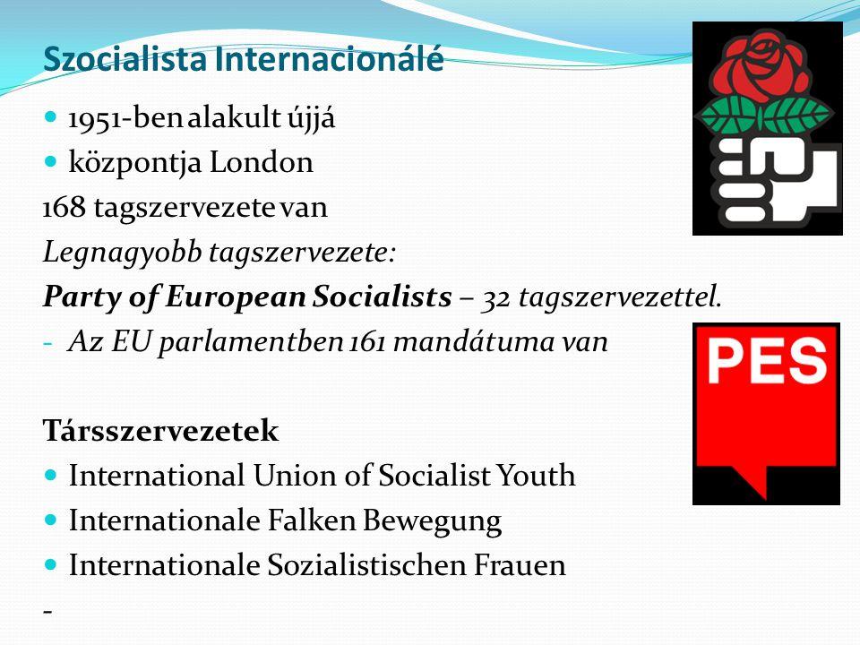 Szocialista Internacionálé 1951-ben alakult újjá központja London 168 tagszervezete van Legnagyobb tagszervezete: Party of European Socialists – 32 ta