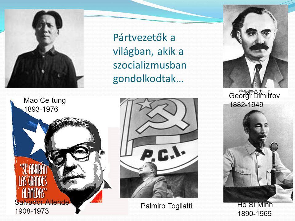 Pártvezetők a világban, akik a szocializmusban gondolkodtak… Mao Ce-tung 1893-1976 Salvador Allende 1908-1973 Palmiro Togliatti Georgi Dimitrov 1882-1