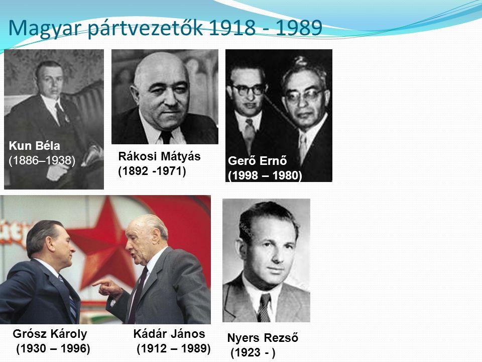 Magyar pártvezetők 1918 - 1989 Kun Béla (1886–1938) Rákosi Mátyás (1892 -1971) Nyers Rezső (1923 - ) Grósz Károly (1930 – 1996) Kádár János (1912 – 19