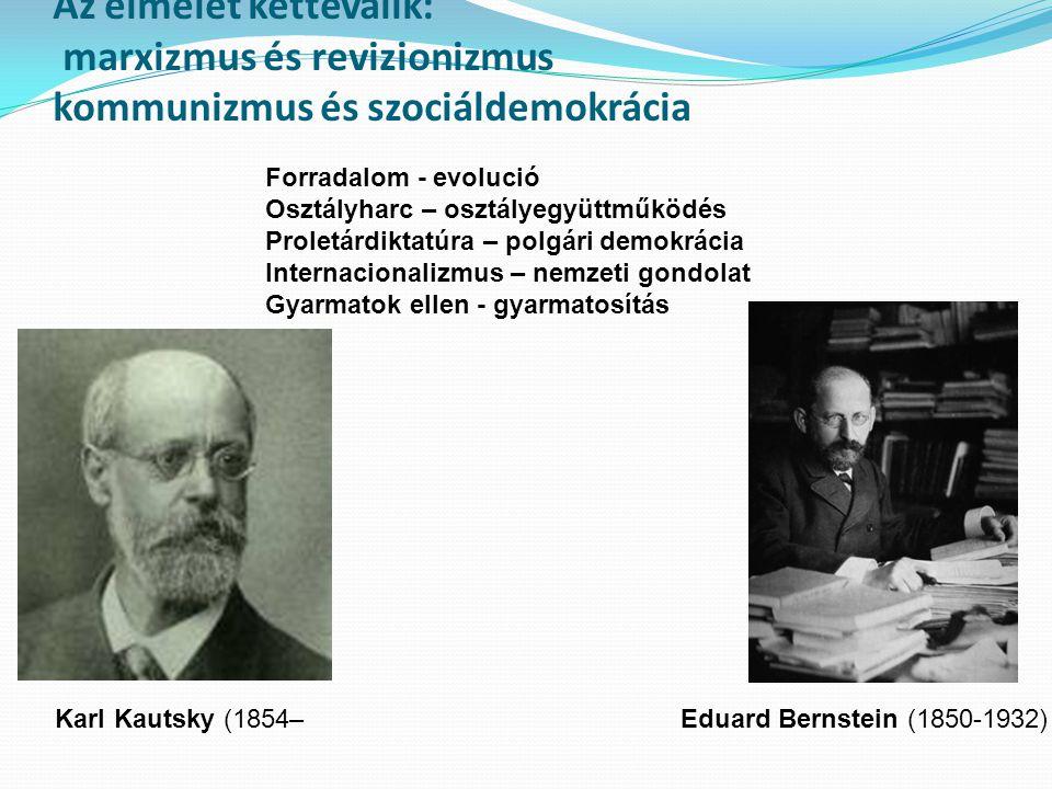 Az elmélet kettéválik: marxizmus és revizionizmus kommunizmus és szociáldemokrácia Karl Kautsky (1854– 1938) Eduard Bernstein (1850-1932) Forradalom -