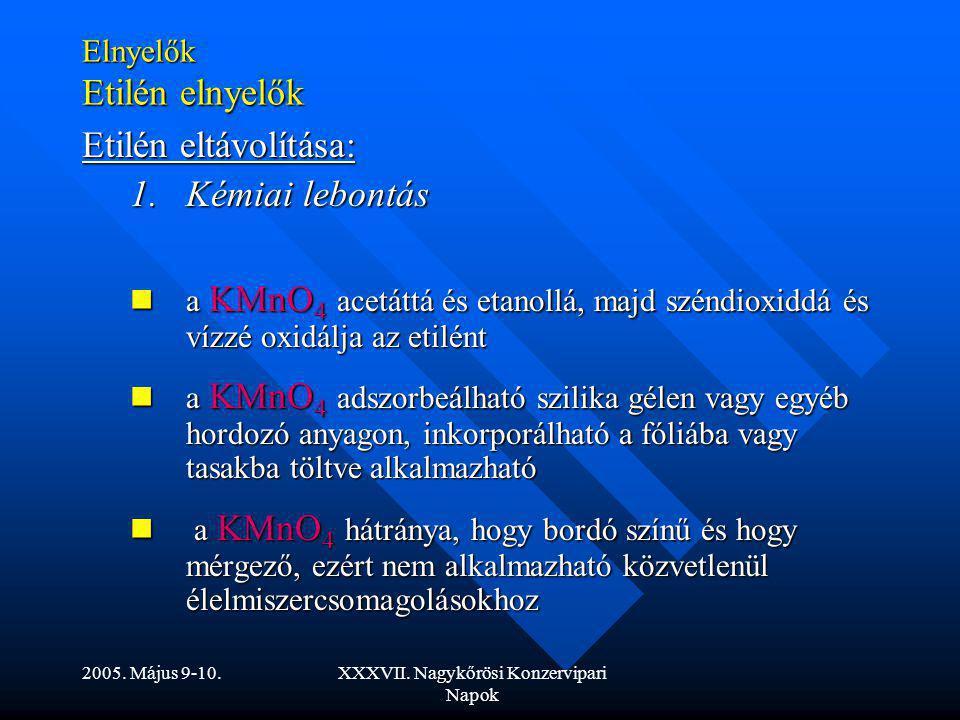 2005. Május 9-10.XXXVII. Nagykőrösi Konzervipari Napok Elnyelők Etilén elnyelők Etilén eltávolítása: 1.Kémiai lebontás a KMnO 4 acetáttá és etanollá,