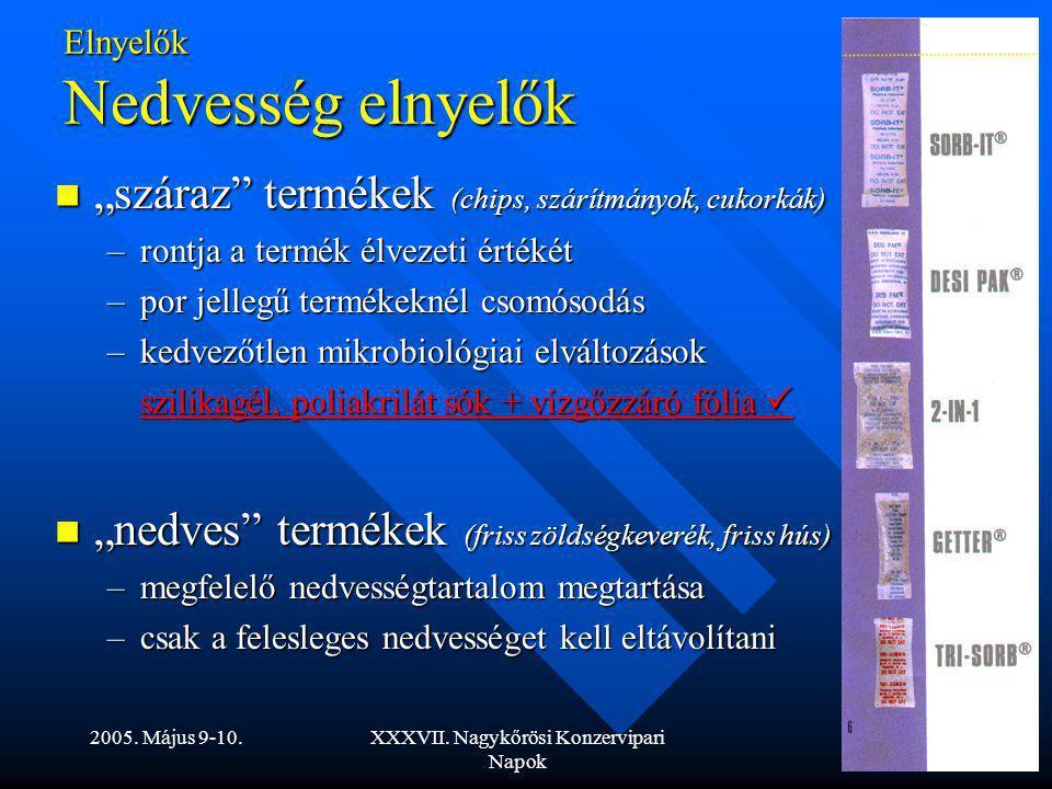"""2005. Május 9-10.XXXVII. Nagykőrösi Konzervipari Napok Elnyelők Nedvesség elnyelők """"száraz"""" termékek (chips, szárítmányok, cukorkák) """"száraz"""" termékek"""