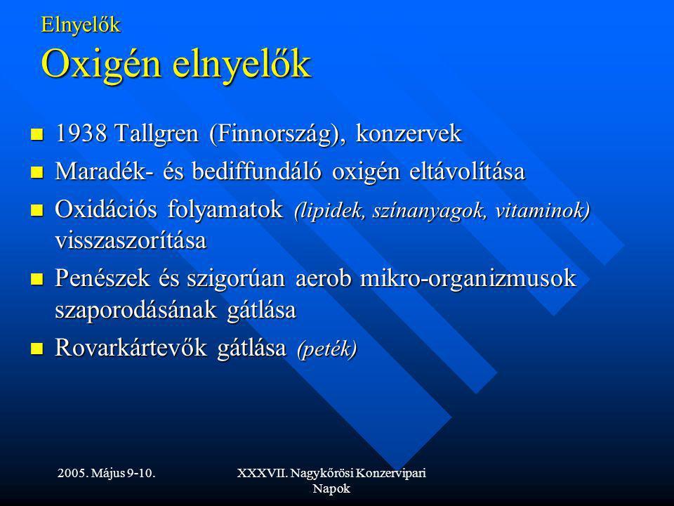 2005. Május 9-10.XXXVII. Nagykőrösi Konzervipari Napok Elnyelők Oxigén elnyelők 1938 Tallgren (Finnország), konzervek 1938 Tallgren (Finnország), konz