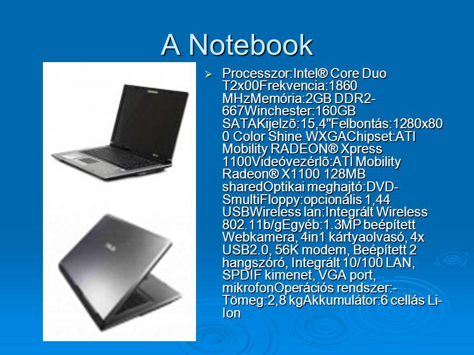  Processzor:Intel® Core Duo T2x00Frekvencia:1860 MHzMemória:2GB DDR2- 667Winchester:160GB SATAKijelzõ:15,4