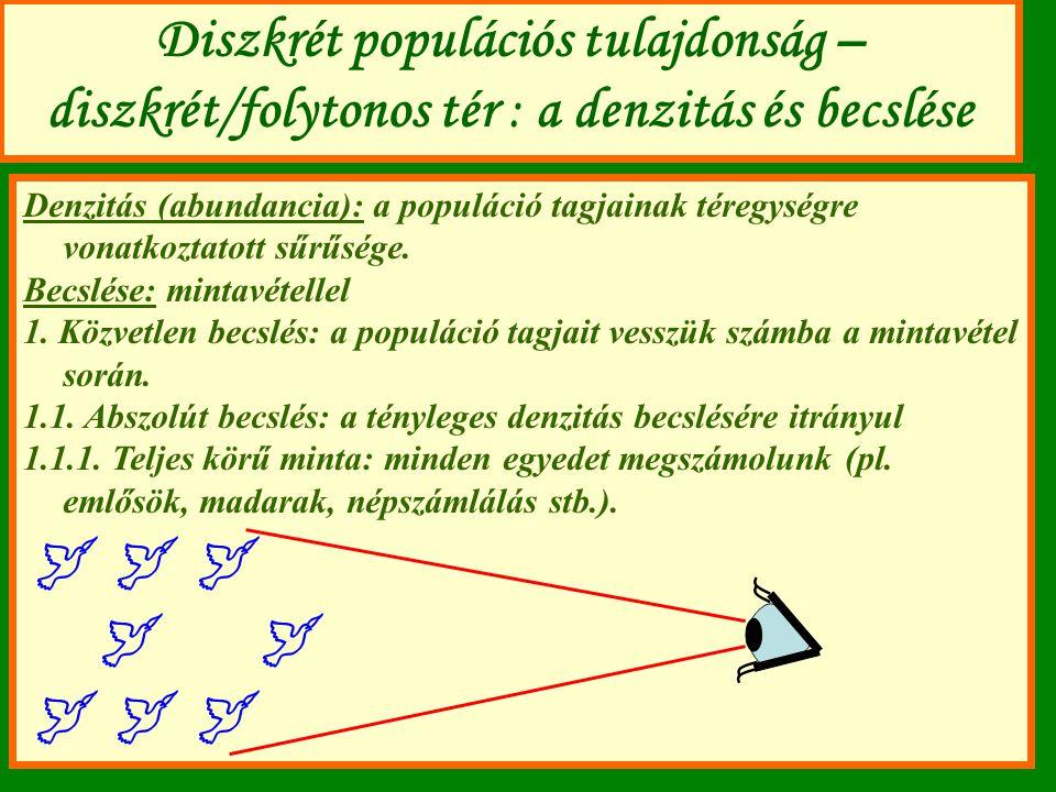 Diszkrét populációs tulajdonság – diszkrét/folytonos tér : a denzitás és becslése Denzitás (abundancia): a populáció tagjainak téregységre vonatkoztat
