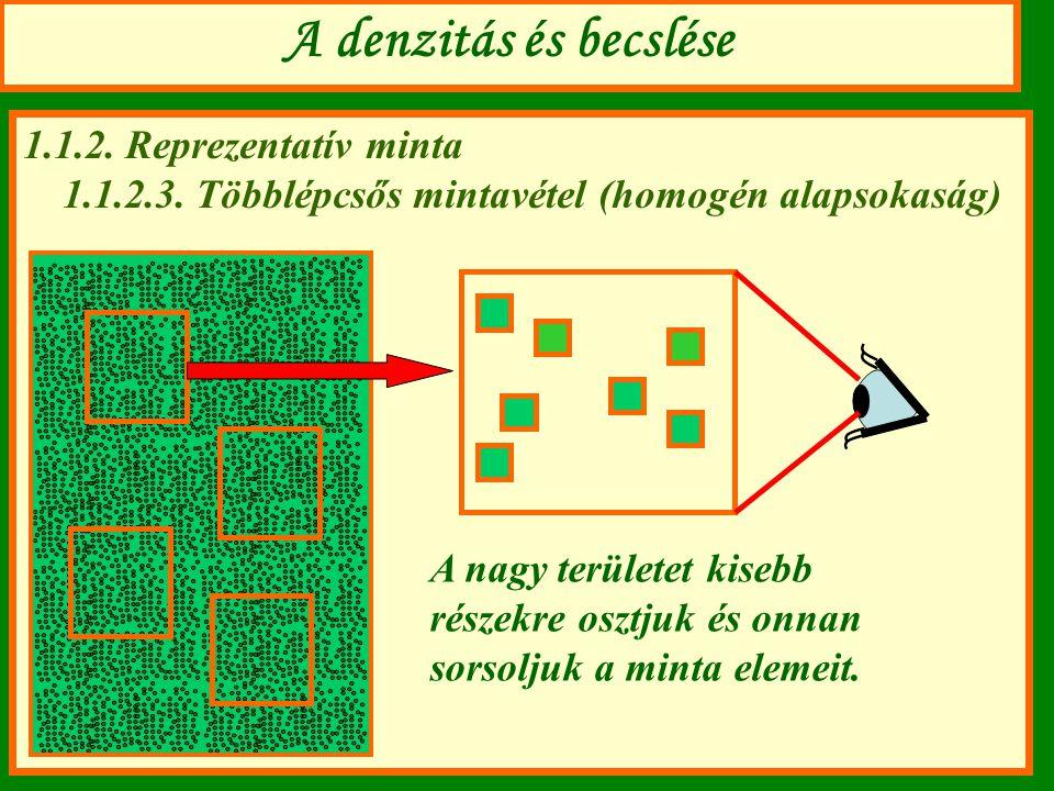 A denzitás és becslése 1.1.2. Reprezentatív minta 1.1.2.3. Többlépcsős mintavétel (homogén alapsokaság) A nagy területet kisebb részekre osztjuk és on