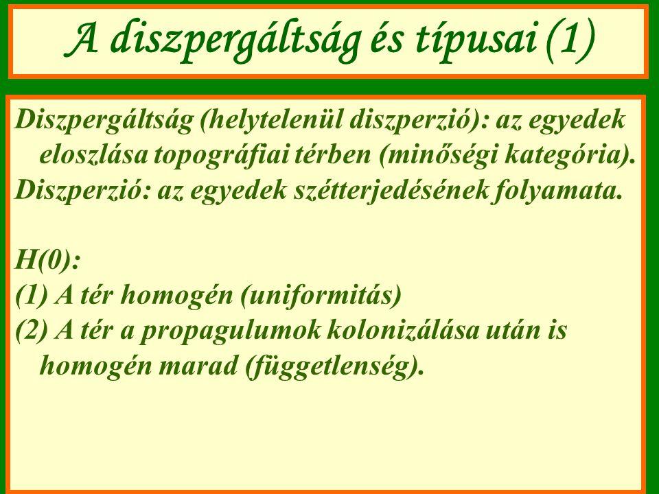 A diszpergáltság és típusai (1) Diszpergáltság (helytelenül diszperzió): az egyedek eloszlása topográfiai térben (minőségi kategória). Diszperzió: az