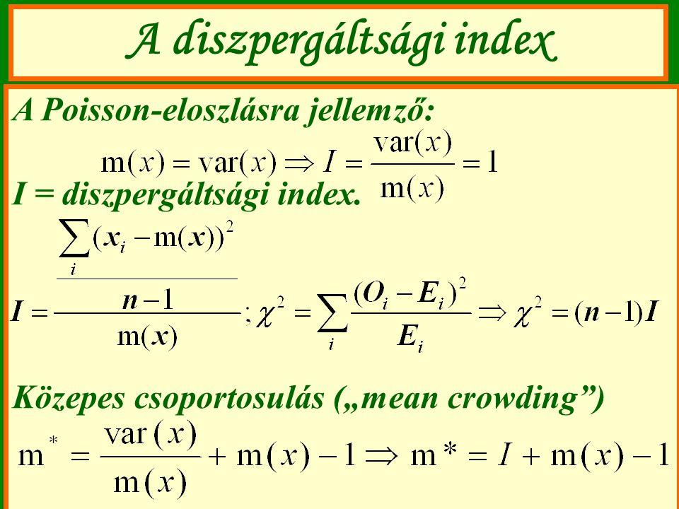 """A diszpergáltsági index A Poisson-eloszlásra jellemző: I = diszpergáltsági index. Közepes csoportosulás (""""mean crowding"""")"""