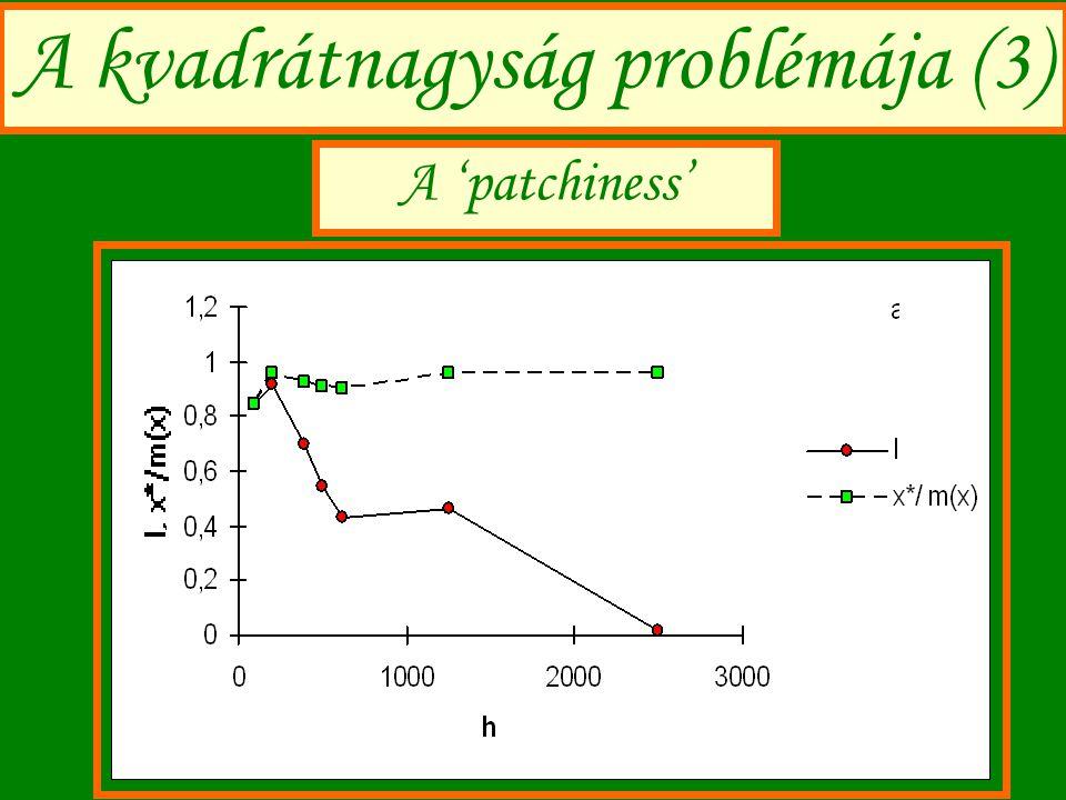 A kvadrátnagyság problémája (3) A 'patchiness'