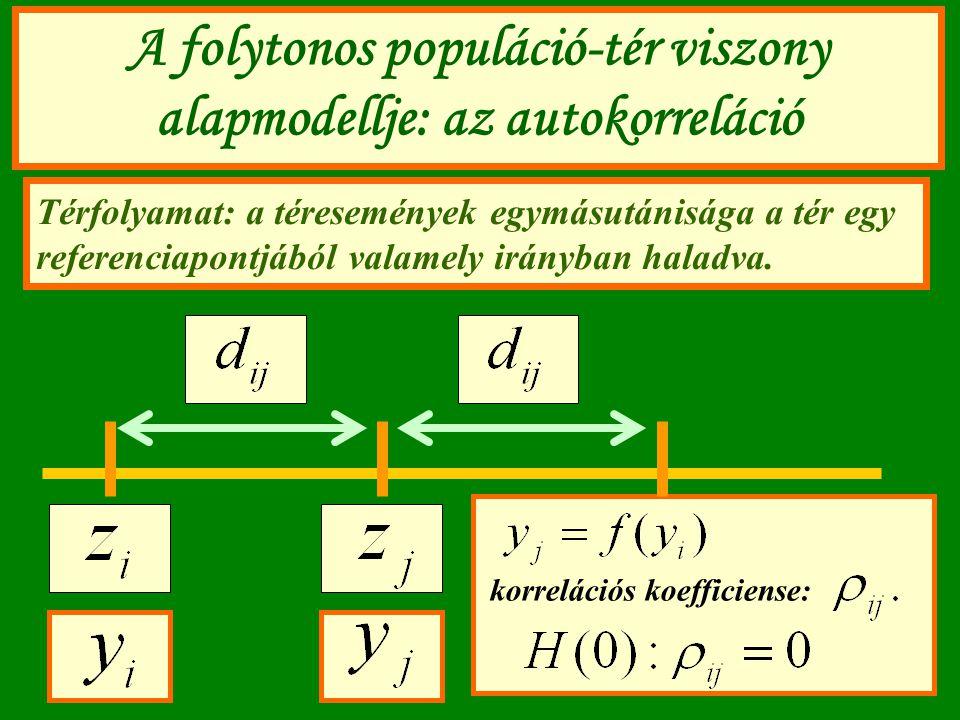 A folytonos populáció-tér viszony alapmodellje: az autokorreláció Térfolyamat: a téresemények egymásutánisága a tér egy referenciapontjából valamely i
