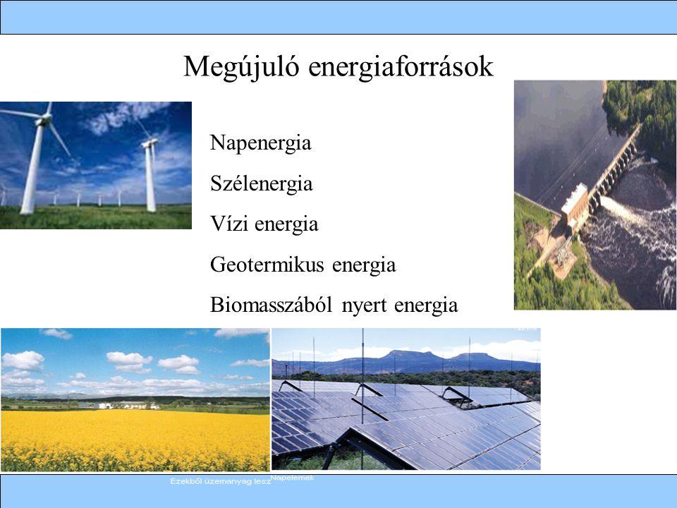 Megújuló energiaforrások Napenergia Szélenergia Vízi energia Geotermikus energia Biomasszából nyert energia