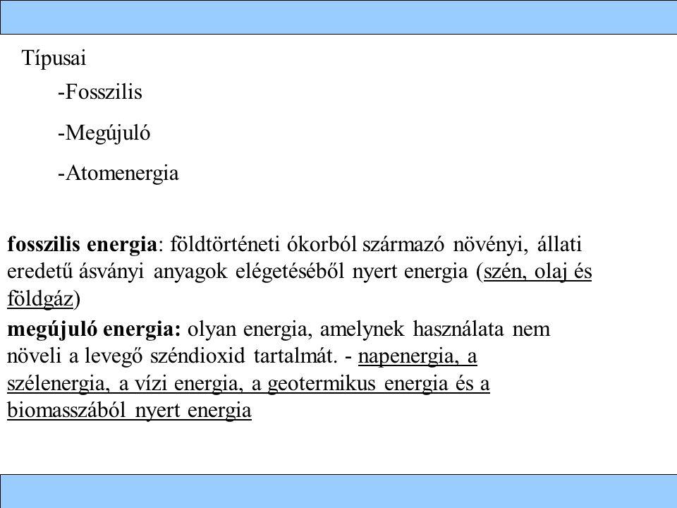 fosszilis energia: földtörténeti ókorból származó növényi, állati eredetű ásványi anyagok elégetéséből nyert energia (szén, olaj és földgáz) megújuló energia: olyan energia, amelynek használata nem növeli a levegő széndioxid tartalmát.