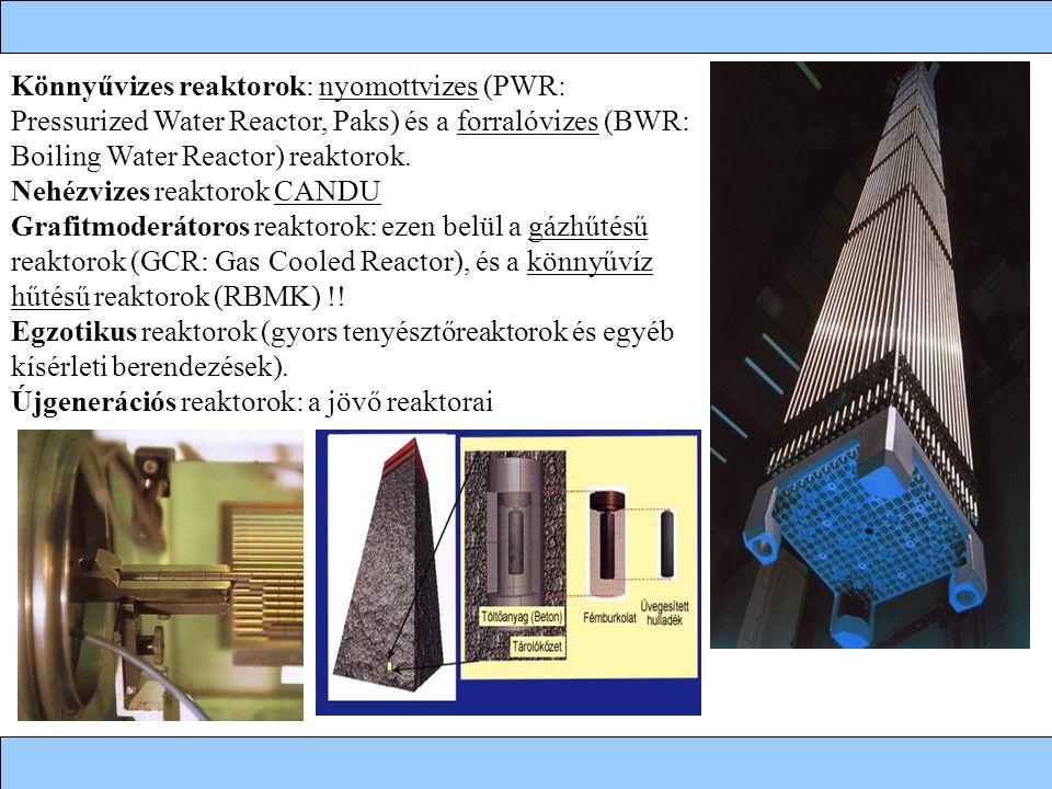 Könnyűvizes reaktorok: nyomottvizes (PWR: Pressurized Water Reactor, Paks) és a forralóvizes (BWR: Boiling Water Reactor) reaktorok. Nehézvizes reakto